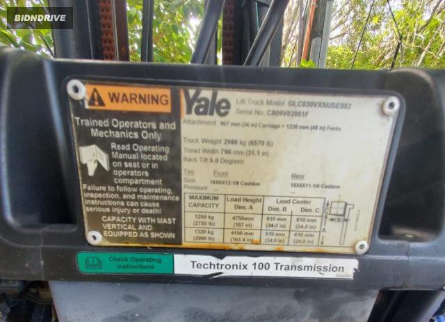 Lot #1595410641 2008 YALE FORKLIFT salvage car