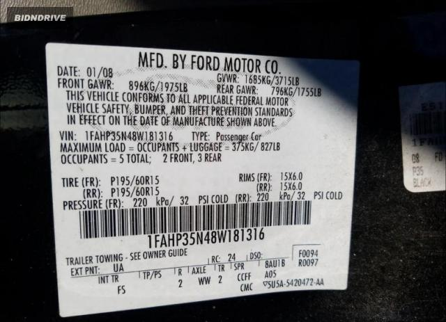 Lot #1658807271 2008 FORD FOCUS SE salvage car